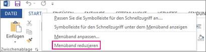 Befehl 'Menüband reduzieren' nach Rechtsklick auf eine Registerkarte im Menüband von Word 2013