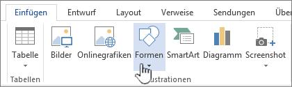 """Word-Schaltfläche """"Formen einfügen"""""""