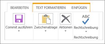"""Registerkarte """"Bearbeiten"""" für Listen"""