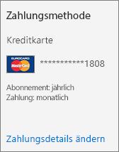 """Screenshot des Abschnitts """"Zahlungsmethode"""" einer Abonnementkarte für ein per Kreditkarte bezahltes Abonnement."""