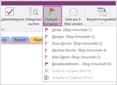 """Screenshot der Schaltfläche """"Outlook-Aufgaben"""" in OneNote 2016"""