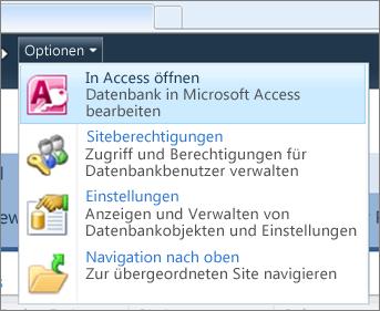 Menü 'Optionen' auf der Website einer Webdatenbank in SharePoint