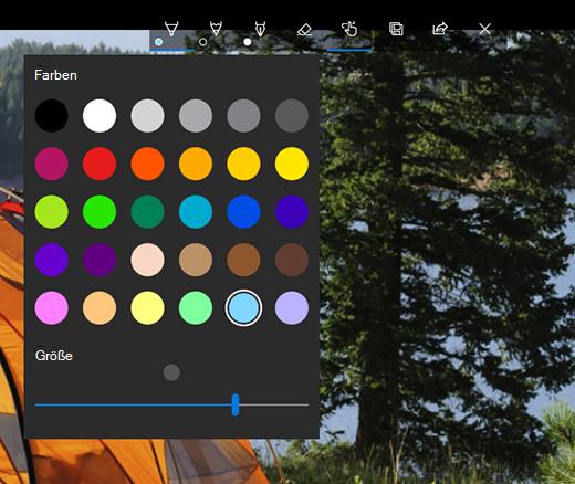 Zeichenoptionen in Microsoft Fotos-App