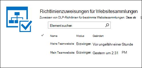 Richtlinienzuweisungen für Websitesammlungen