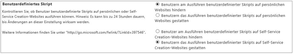 Screenshot der Einstellung für benutzerdefiniertes Skript im SharePoint Online Admin Center