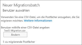 Neuer Migrationsbatch mit CSV-Datei