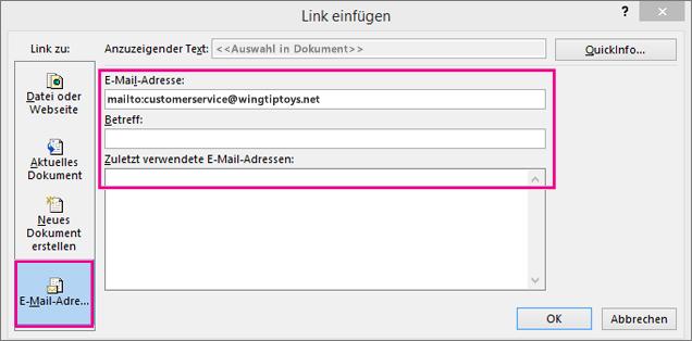 Zeigt ein Dialogfeld, in dem die Option zum Einfügen eines Links in eine E-Mail ausgewählt ist