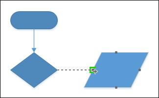 Kleben Sie einen Verbinder an einen bestimmten Punkt auf einem Shape, um den Verbinder an diesem Punkt zu befestigen.