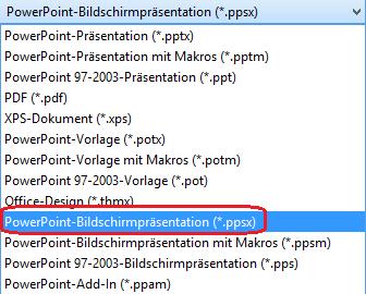 """Die Liste der Dateitypen in PowerPoint umfasst """"PowerPoint-Bildschirmpräsentation (.ppsx)"""""""