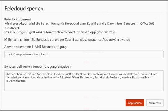 Die E-Mail-Vorlage für eine gesperrte App