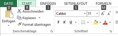 Excel 2013 Menüband-KeyTips