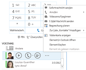 "Screenshot von ""Voicemail abhören"" in Lync"