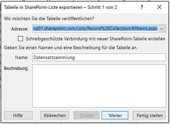 """Erste Seite des Dialogfelds """"In SharePoint exportieren""""."""