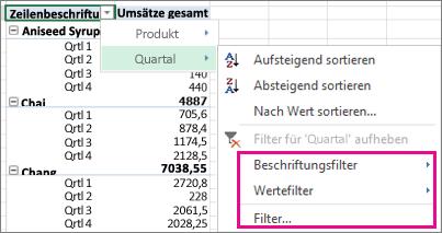 Filteroptionen für PivotTable-Daten