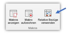 """Screenshot der Schaltfläche """"Relative Verweise verwenden"""""""