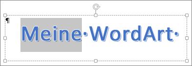 Teilweise markierter WordArt-Text