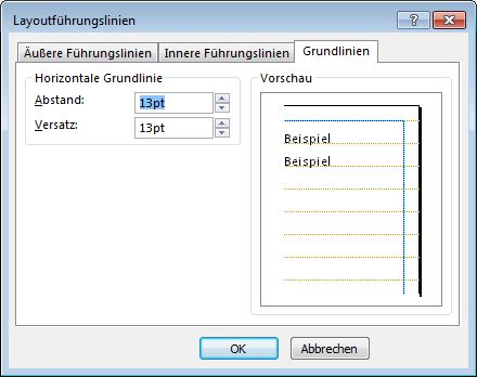 Publisher-Dialogfeld 'Layout-Führungslinien' mit der Registerkarte 'Basisführungslinien'