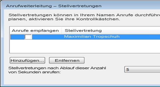 Bildschirmfoto zum Hinzufügen einer Stellvertretung in Lync
