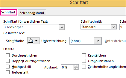 """Dialogfeld """"Schriftart"""" in Excel"""