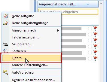Befehl 'Filter' für Aufgabenliste