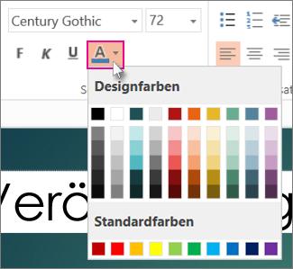 Eine Farbe für den Text auswählen