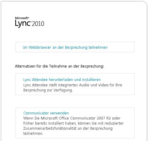 Abbildung des Lync-Browserfensters