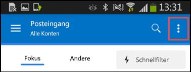 Menü für Einstellungen für Android