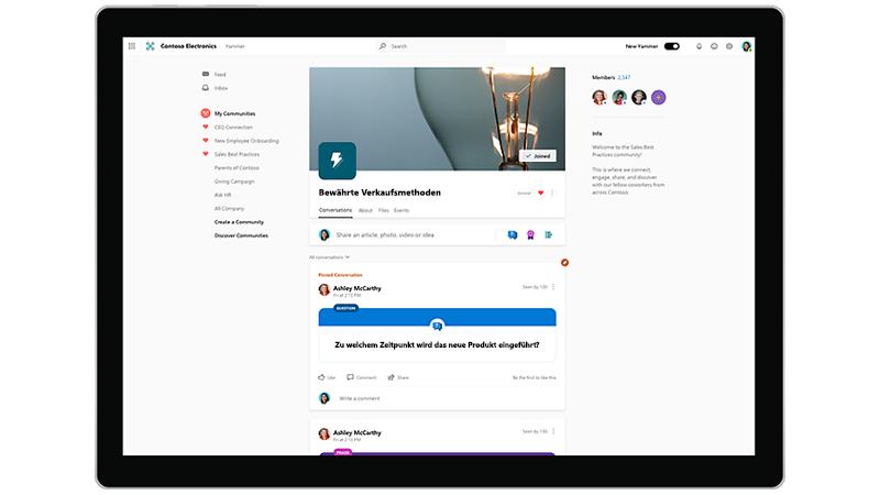 Yammer Homepage mit Communitys
