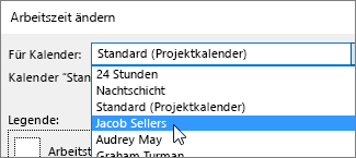 """Ressourcen in der Liste """"Für Kalender"""""""