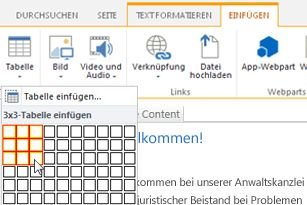 Einfügen einer Tabelle in der öffentlichen SharePoint Online-Website