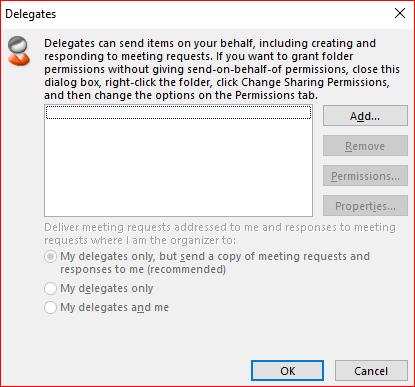 Ein Bildschirmabbild des Dialogfelds Delegaten entfernen