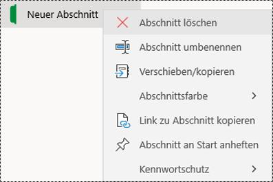 Screenshot des Kontextmenüs für das Löschen einer Abschnittsregisterkarte in OneNote für Windows 10.