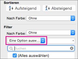 """Im Feld """"Filter"""" die Option """"Auswählen"""" aktivieren"""