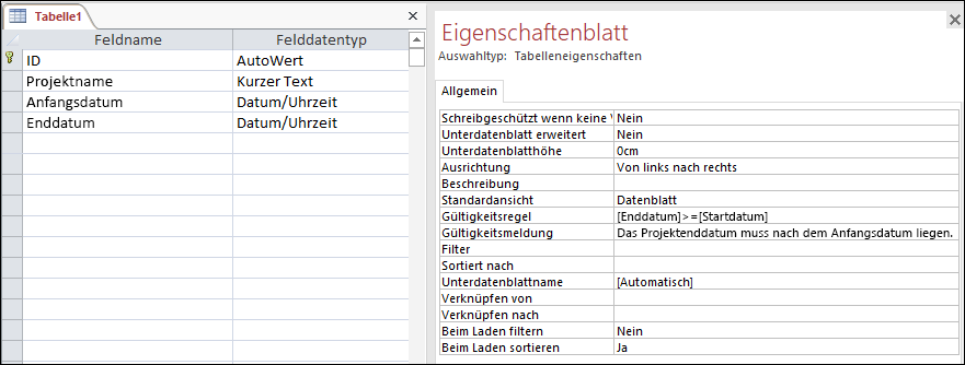 Eine Tabellen-Gültigkeitsprüfungsregel im Access-Tabellen-Designer