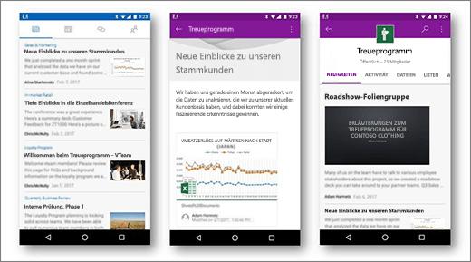 SharePoint-Neuigkeiten auf Android-Mobilgeräten