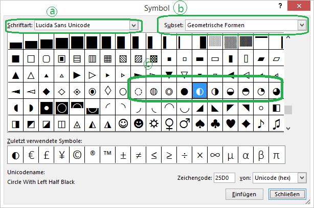 Die Unicode-Schriftart im Dialogfeld Symbol einfügen enthält Harvey Ball Symbole