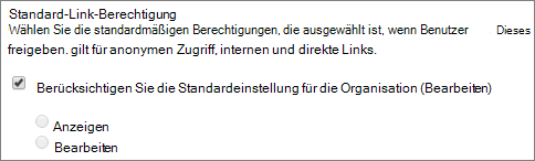Screenshot der Standardberechtigungen Link für eine Websitesammlung festlegen