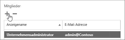 """Zeigt das Dialogfeld """"Dienstüberprüfungsbenutzer"""" mit hervorgehobenem Symbol """"Hinzufügen"""" im Abschnitt """"Mitglieder"""" an"""