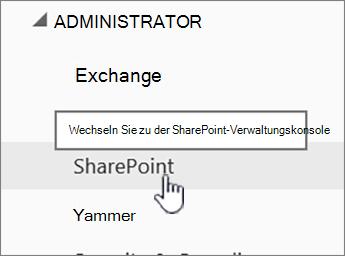SPO Administrationscenter mit hervorgehobenem SharePoint