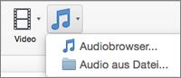 """Menü """"Audio einfügen"""" mit den Auswahlmöglichkeiten """"Audio aus Datei"""" und """"Audiobrowser"""""""