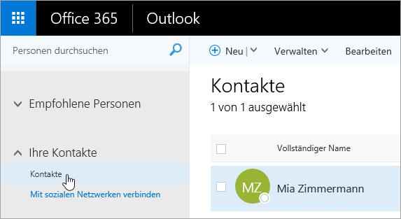 """Screenshot des Cursors, der auf der Seite """"Personen"""" auf die Schaltfläche """"Kontakte"""" zeigt"""