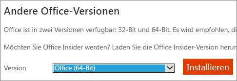 Screenshot der Dropdownliste die Option zum Installieren von Office - 64-bit