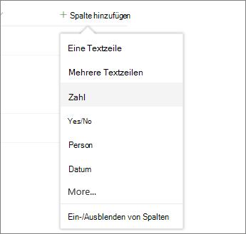 Klicken Sie auf Spalte hinzufügen, und wählen Sie dann aus der Liste aus.