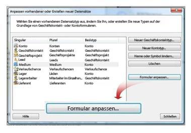 Dialogfeld zum Anpassen vorhandener oder Erstellen neuer Datensätze