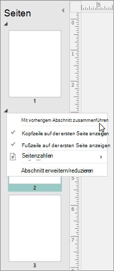 Ein Screenshot zeigt einen Abschnitt mit dem Cursor auf das Zusammenführen mit der vorherigen Abschnitt Option zeigen ausgewählt.