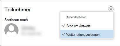 "Screenshot der Option ""Weiterleitung zulassen"""