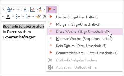 Sie können eine Aufgabe erstellen, die Sie in Outlook nachverfolgen können.