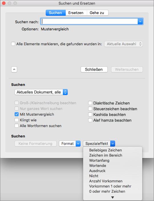 """Verwenden von Platzhaltern im Dialogfeld """"Suchen und Ersetzen"""""""