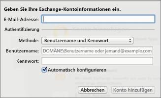 Geben Sie Ihre Exchange-Kontoinformationen ein.