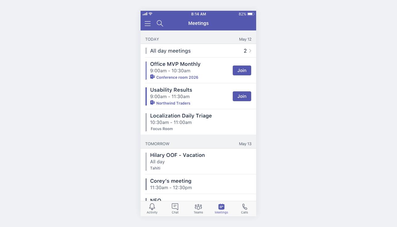 Kalender für Mobile Besprechungen
